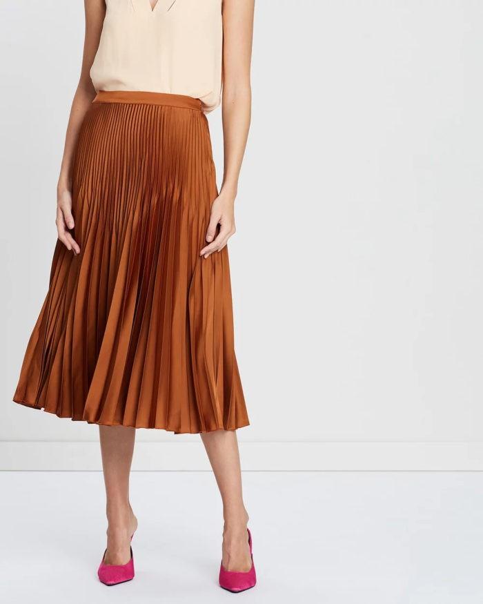 коричневая плиссе миди