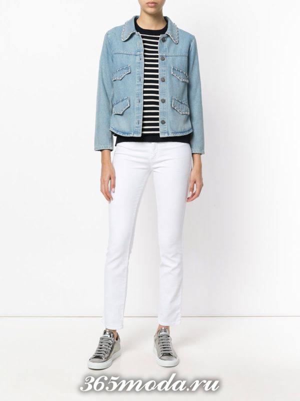 белые узкие брюки с денимом
