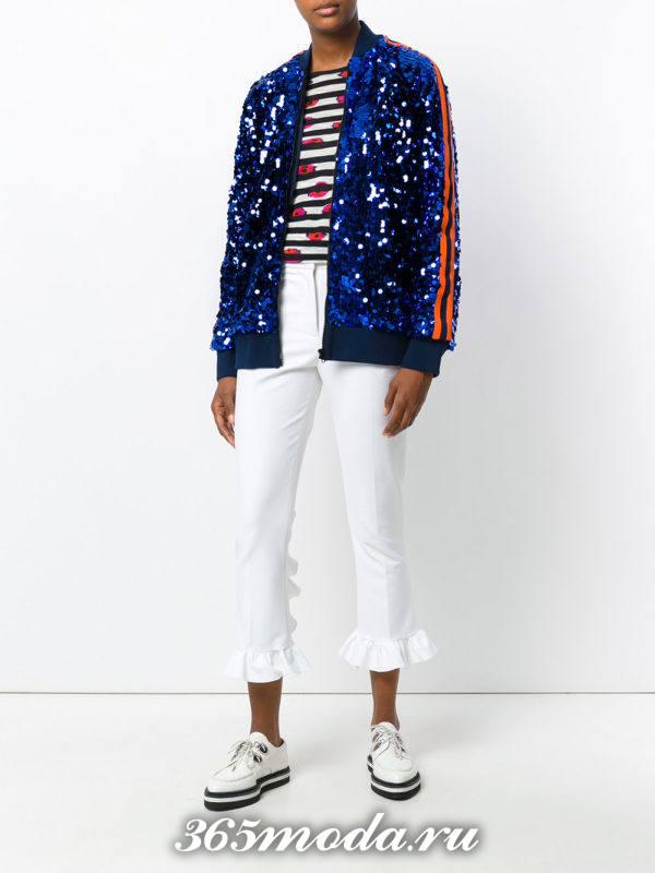 белые укороченные брюки с кардиганом