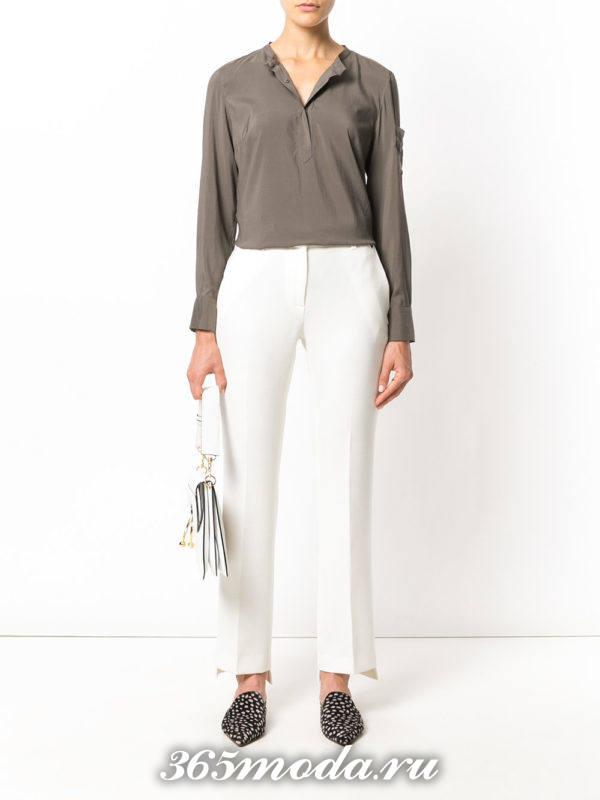 белые классические брюки с рубашкой