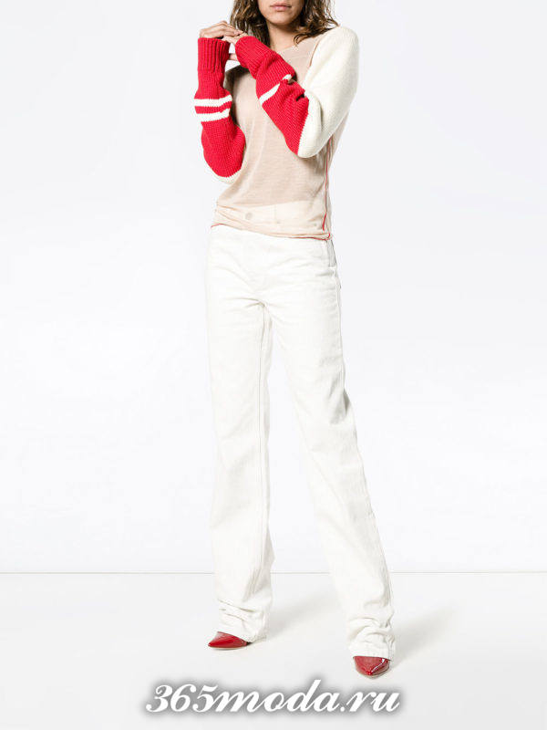 белые модные джинсы