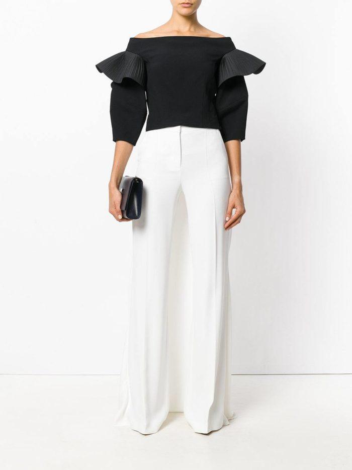 женские белые брюки с черным верхом