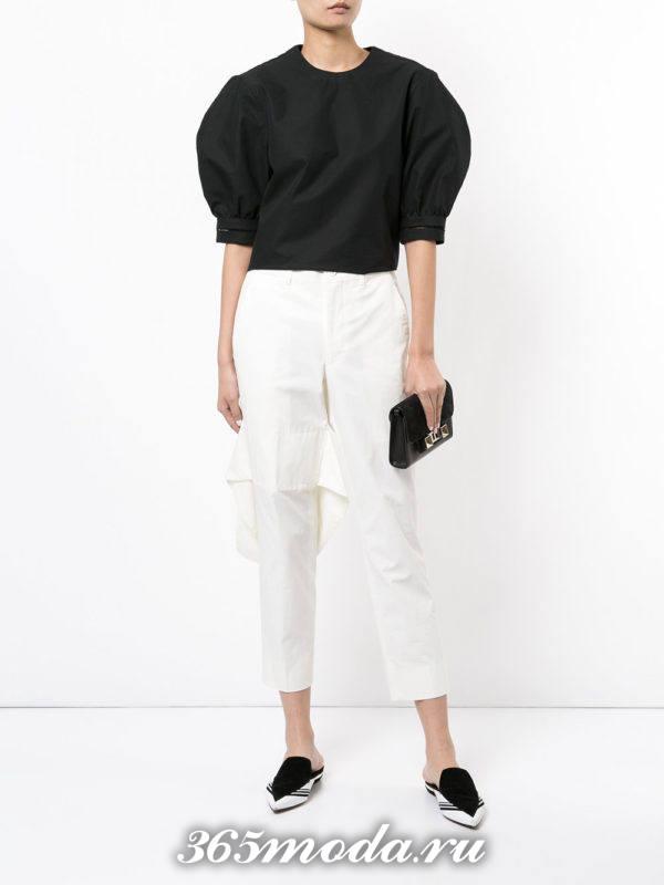 женские белые брюки с сабо
