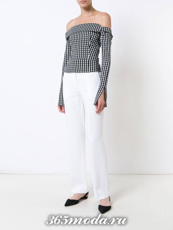белые классические брюки с блузкой