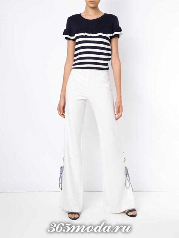женские белые брюки с топом