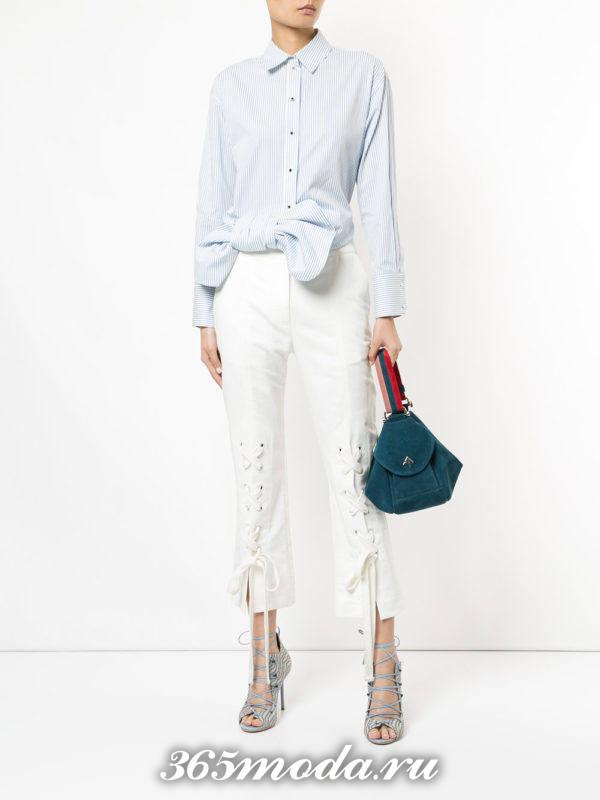 женские белые брюки модные
