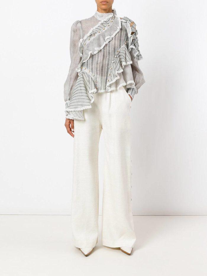 белые широкие брюки с блузой