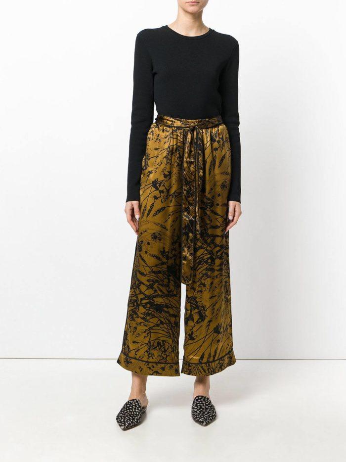брюки с завышенной талией с рисунком