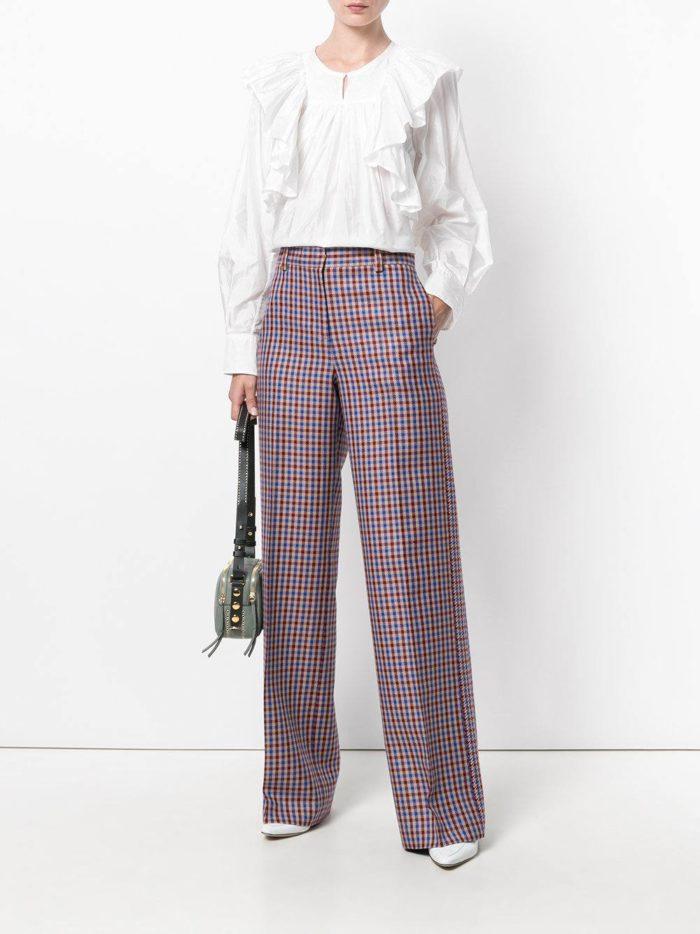 цветные клетчатые брюки с завышенной талией