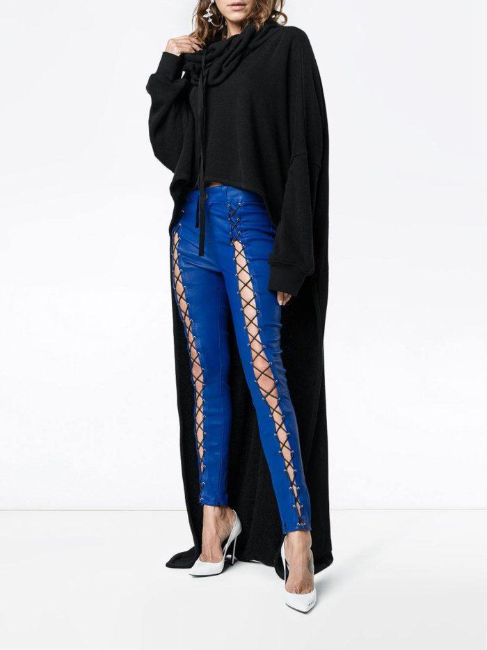 брюки кожаные с декором