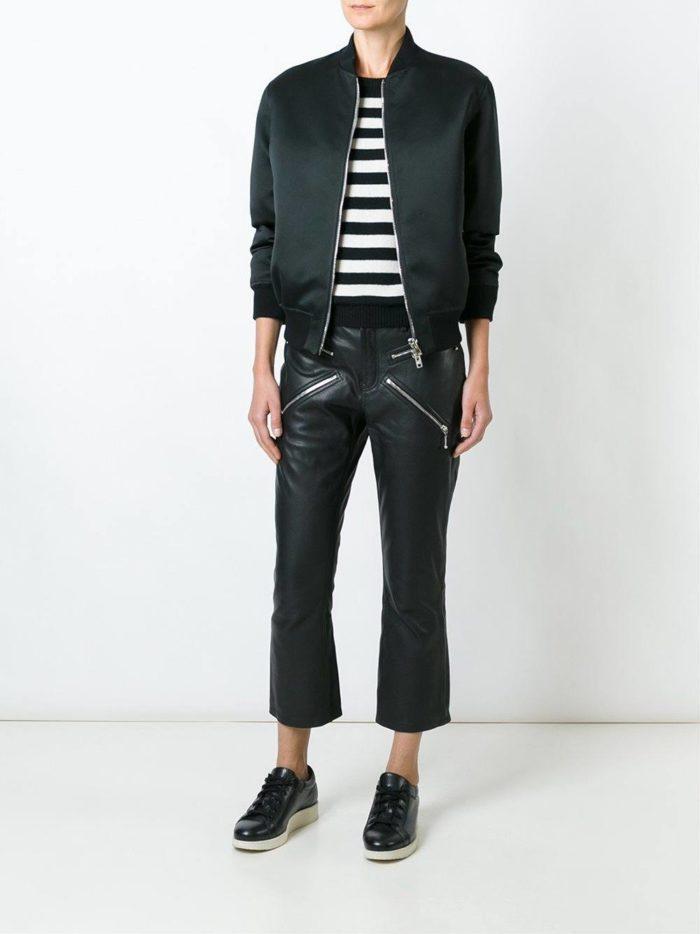 кожаные брюки черные