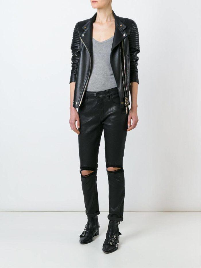 кожаные брюки с разрезами