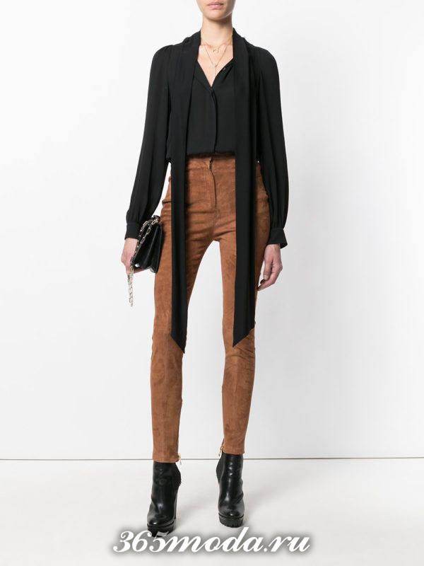 брюки скинни с завышенной талией