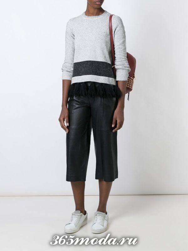 кожаные брюки кюлоты