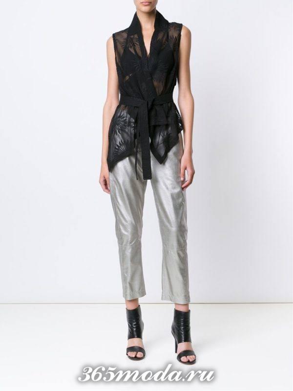 кожаные брюки серебристые