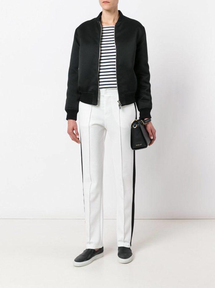 брюки с лампасами белые