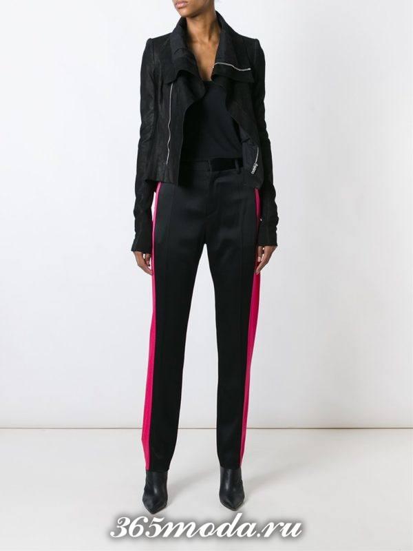 брюки с розовыми лампасами