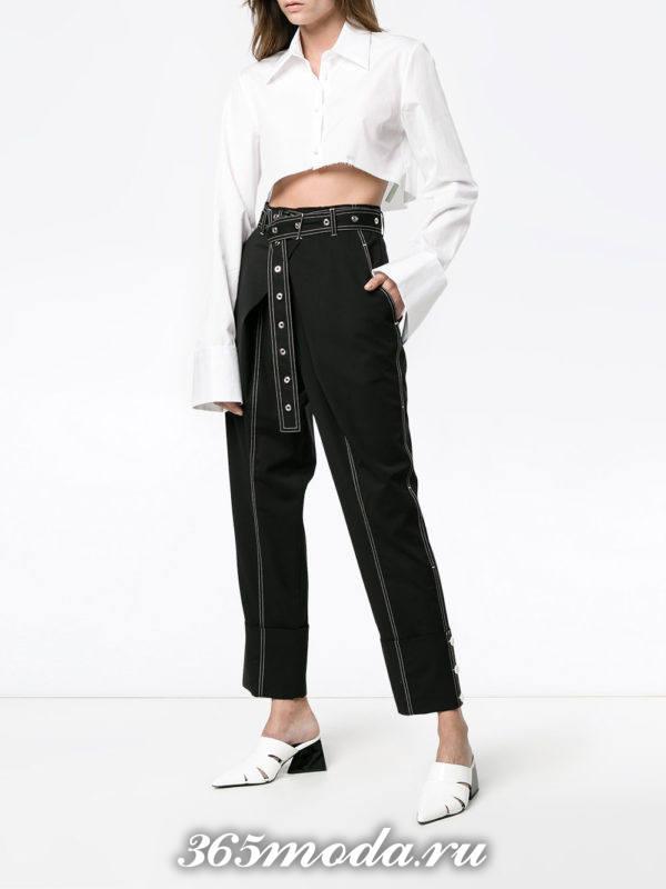 черные брюки с завышенной талией