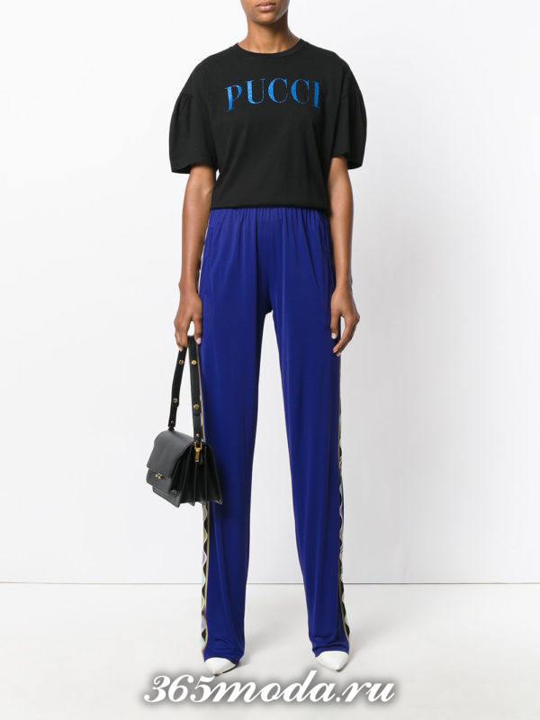 брюки с лампасами синие