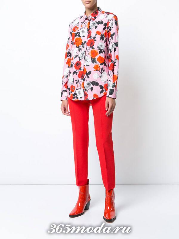 брюки дудочки красные