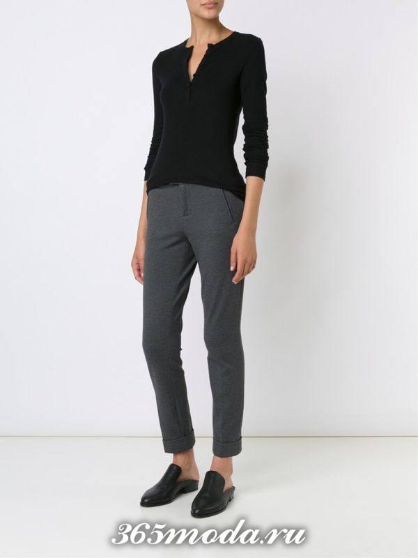 брюки дудочки серые