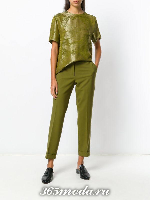 брюки дудочки зеленые