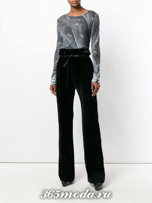 брюки с завышенной талией с декором