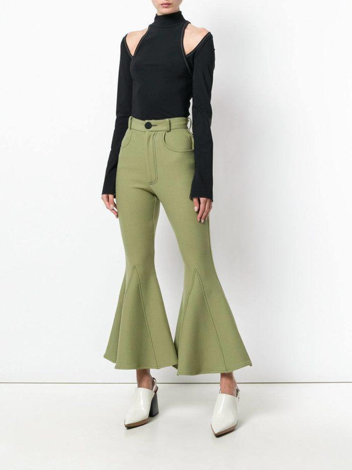 зеленые брюки весна-лето