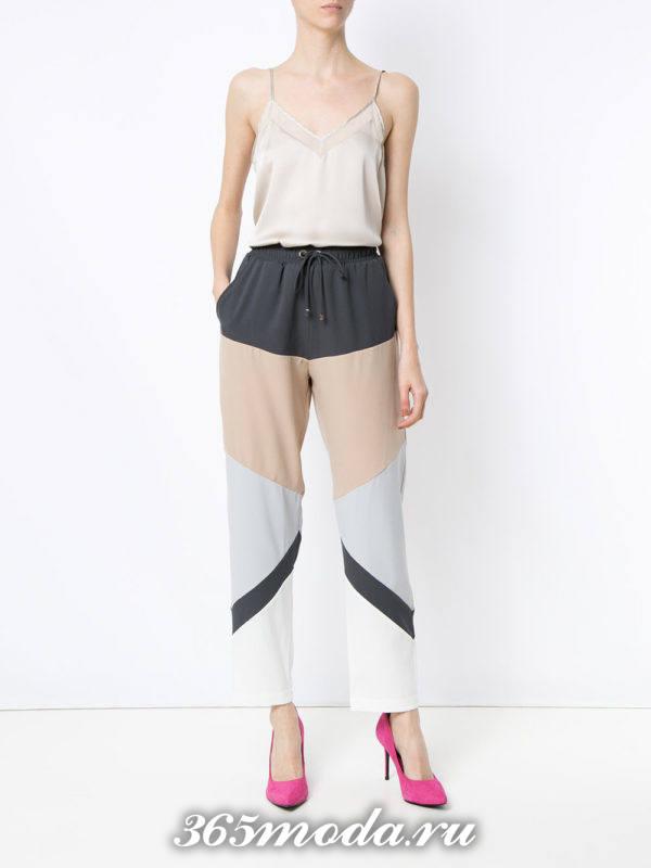 брюки с узором весна-лето