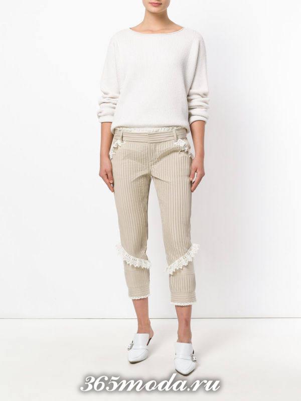 бежевые брюки весна-лето