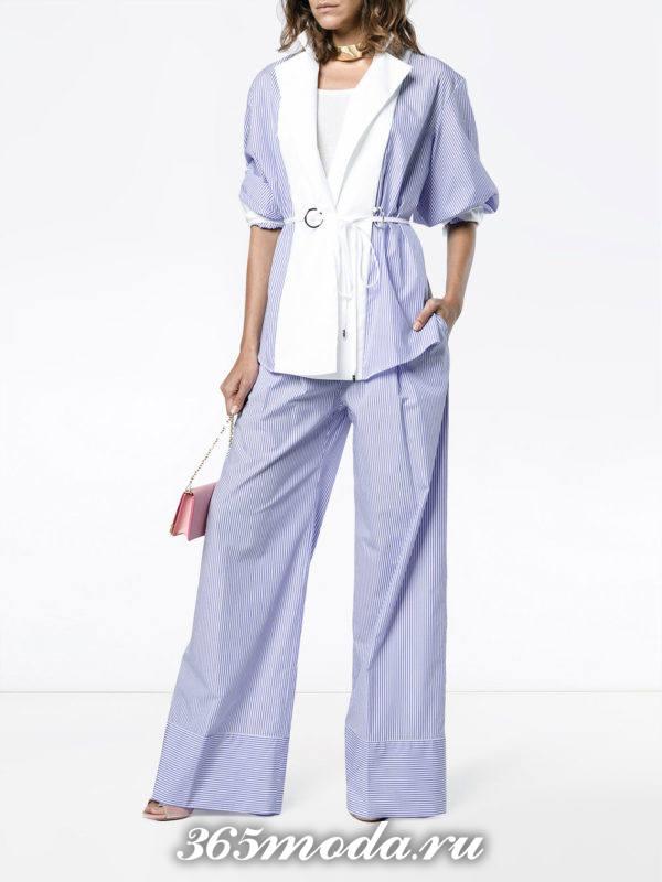 голубые широкие брюки весна-лето