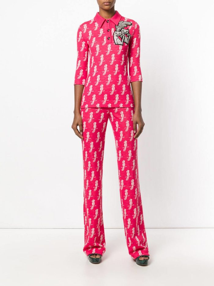 брюки яркие розовые с принтом весна-лето