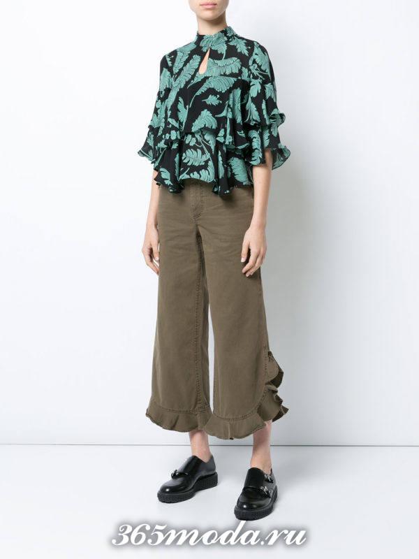 коричневые широкие брюки весна-лето