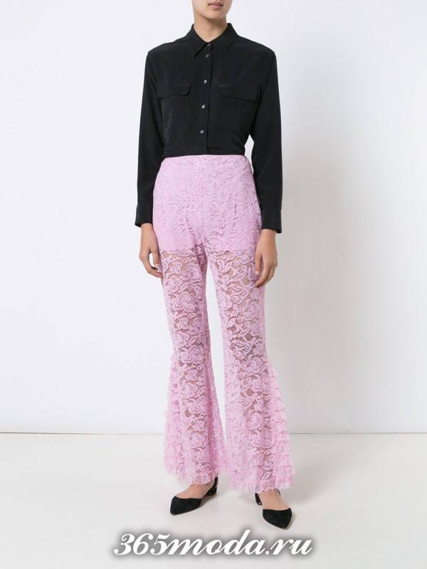 кружевные розовые брюки весна-лето