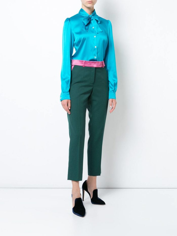 брюки с завышенной талией зеленые