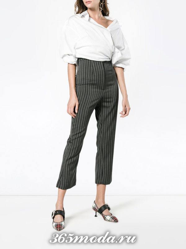 брюки с завышенной талией каждодневные