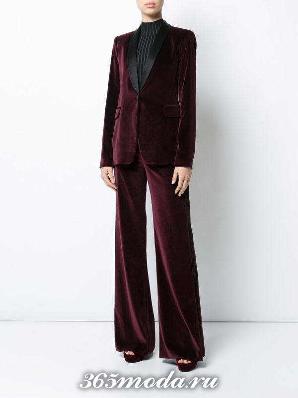 бархатный костюм бордовый