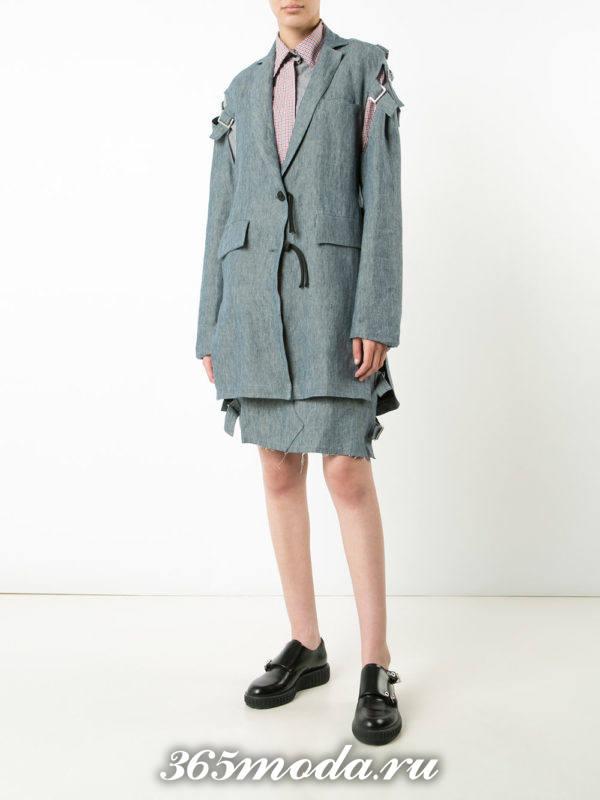 костюм с юбкой серый