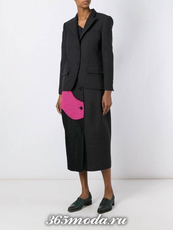 костюм с юбкой темный