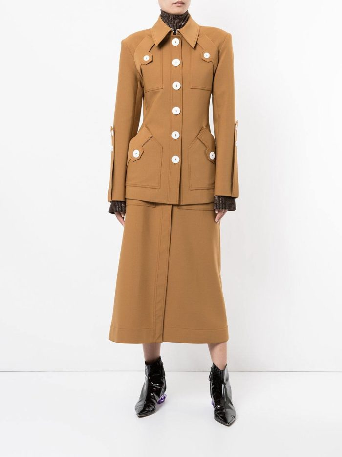 костюм с юбкой коричневый