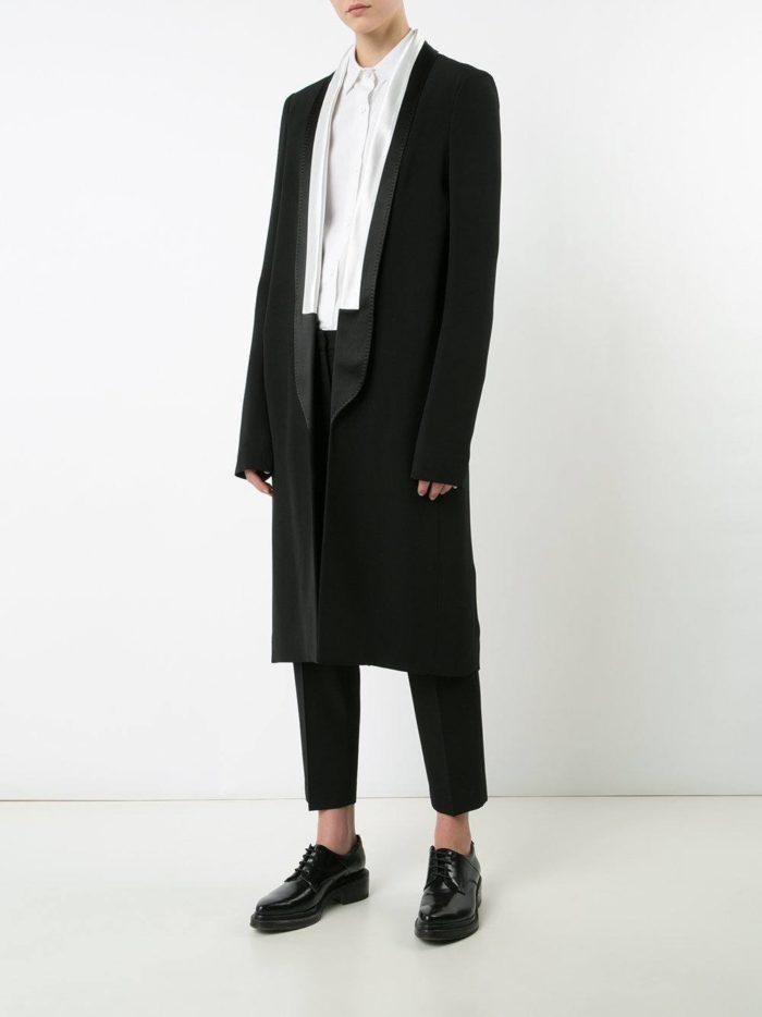 костюм с длинным пиджаком черный