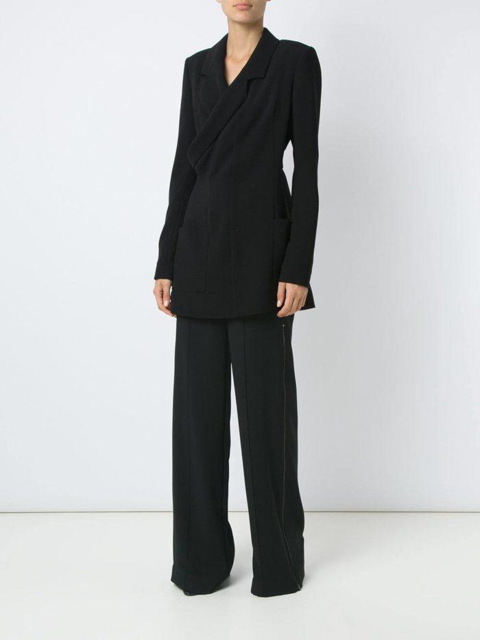 костюм с длинным пиджаком темный
