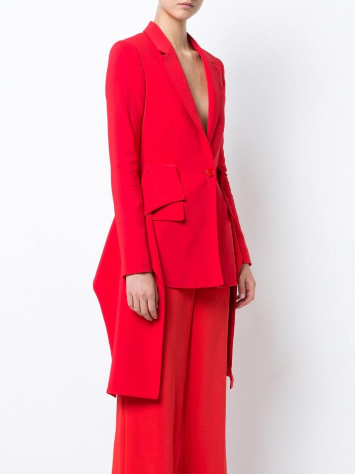 костюм с длинным пиджаком красный