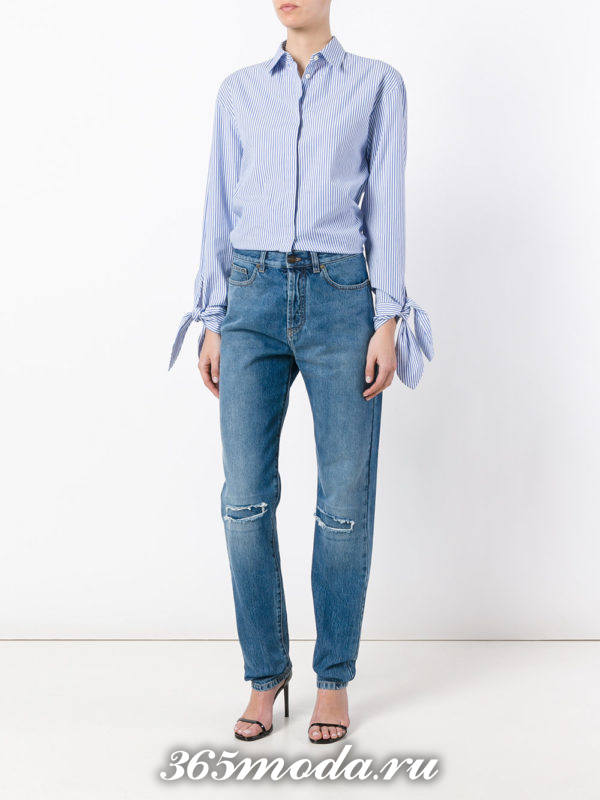 летний лук с джинсами бойфрендами