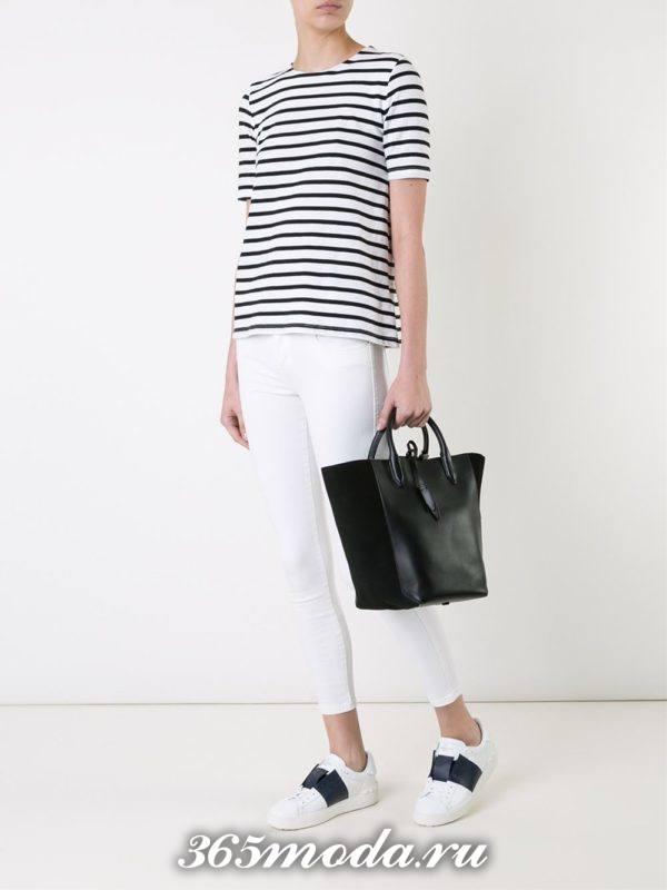 летний лук с белыми джинсами скинни
