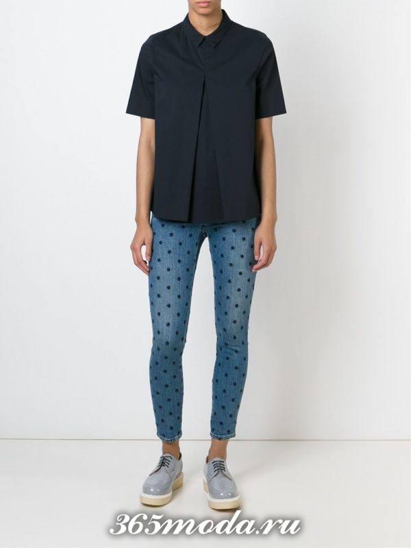 летний лук с джинсами скинни с принтом