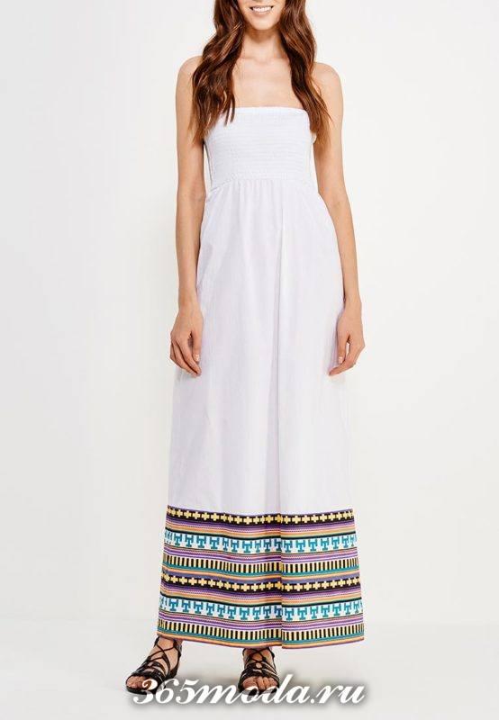 летний лук с длинным белым сарафаном