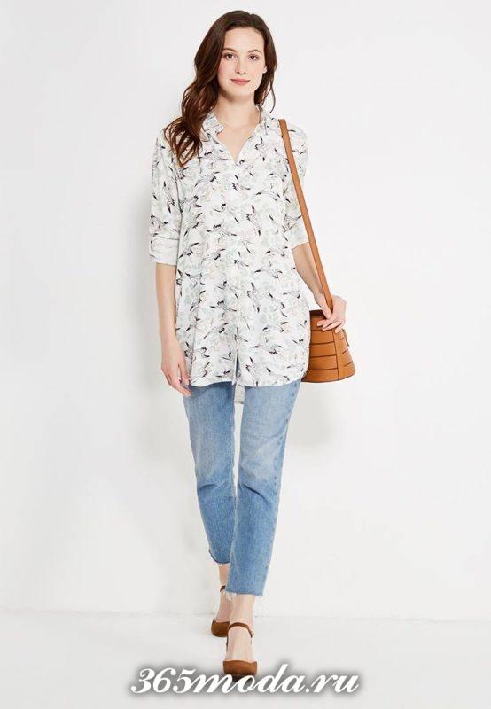 летний лук с туникой рубашкой с принтом