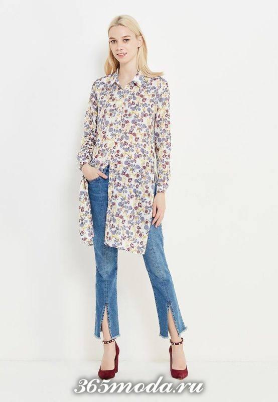 летний лук с длинной туникой рубашкой