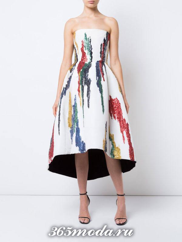 лук с пышным платьем с принтом красками